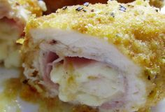 Kuřecí rolky Cordon Bleu z trouby Poultry, French Toast, Cordon Bleu, Food And Drink, Cooking Recipes, Ice Cream, Treats, Chicken, Breakfast