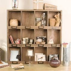 Wooden 12 Compartment Shelf Unit