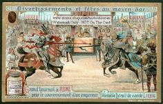 Knights Jousting During The Middle Ages c1902 Card