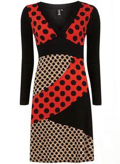 Red multi polkadot patch dress