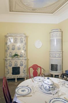 """Swedish tiled stoves from the 1700s. (If I am understanding Swedish correctly, one such stove is called """"Kakelugnen."""" When speaking about multiples, the term is """"Kakelugnar."""" )"""