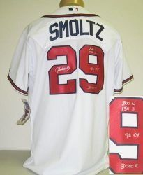 87840249b John Smoltz Signed Atlanta Braves Jersey - 96 CY with COA by Autograph- Sports