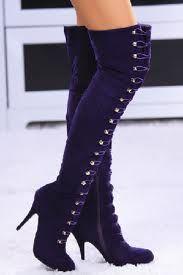 purple suede lace up over the knee platform boots - Google-søk