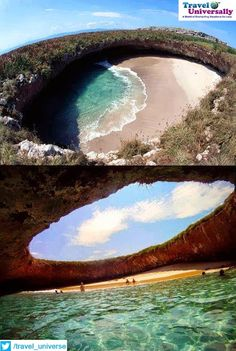 Hidden Beach was created by a Giant Bomb Blast from Mexican Government, Located just a few miles off the coast of Mexico, the islands were used to because they were uninhabited  2. To reach the secluded marvel, visitors have to swim through a short tunnel which opens up into spectacular beach
