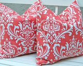 Coral Pillows Decorative Throw Pillow Covers ONE  Accent Pillows 20 x 20 Inches Coral Collection Mix and Match