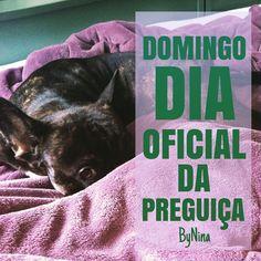"""@instabynina's photo: """"Dia bom pra ler, assistir Netflix, dormir, não tirar o pijama, ficar de bobeira e recarregar a bateria! A gente precisa!!! Um ótimo domingo pra todos! Nina & Nunis  #domingo #preguiça #frases #bynina #instabynina"""""""