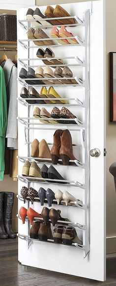 Shoe storage ideas for small closets over the door shoe rack diy shoe storage ideas easy Shoe Storage Uk, Shoe Storage Solutions, Diy Shoe Rack, Storage Hacks, Storage Design, Diy Storage, Shoe Racks, Shoe Rack Door, Shoe Hanger
