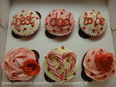 Cupcakes: Valentines themed cupcake gift box. Dad to be. Pink red white. Hearts candy canes glitter & love decorations. www.facebook.com/thegrovecupcakery