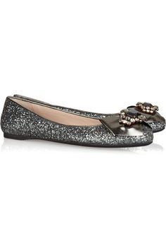 Silver Crystals Flat Shoes