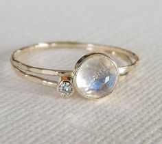 Rainbow Moonstone Ring Set Moissanite Ring Set 14k by Luxuring