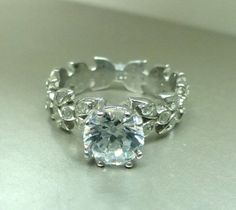 engagement rings leaves   Leaf floral engagement ring with Moissanite ...   Diamond Engagement ...