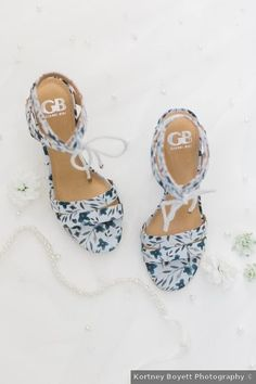 Wedding shoes ideas - blue, heels, flowers, designs, romantic, rustic, unique, open toe {Kortney Boyett Photography}
