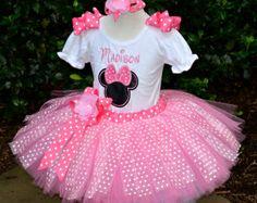 Minnie Mouse Pink Polka Dot birthday tutu Outfit...Sewn Tutu, Top Big Bow...Sizes 3m-6...Free Embroidered Name