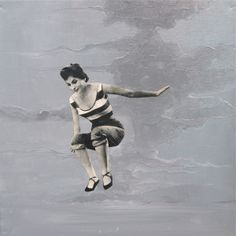 'Jump of Joy', Oil paint and paper collage on 30 x 30 cm canvas