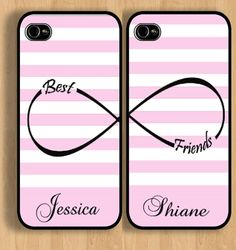 Cute iPhone 4 4s or 5 5s  Pair of Personalized Best Friend Infinity Cases #Apple