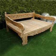 Check out our daybeds at Mix Furniture! Floral Carved teak wood bench with rolled arms. Perfect for outdoor and indoor. Bali Furniture, Bench Furniture, Furniture Design, Outdoor Furniture, Balinese Interior, Balinese Decor, Balinese Garden, Wood Daybed, Custom Cushions