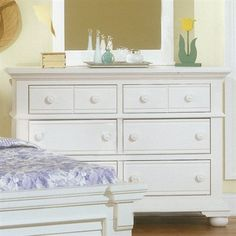 American Woodcrafters 6500-260 Cottage Traditions Double Dresser This American Woodcrafters Dresser has an eggshell white finish.  Cottage Traditions Do…