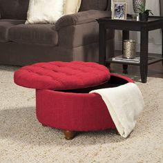 Amazon.com: Kinfine Round Textured Tufted Storage Ottoman, Red: Kitchen & Dining