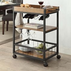 Austin Kitchen Cart - Linon and industrial in style and design, the Austin Kitchen Cart is perfect for adding storage to small dining rooms and kitchens. Crafted from metal, the base of the table features a black finish, while the wood Kitchen Trolley, Kitchen Storage, Storage Shelves, Wine Storage, Storage Cart, Kitchen Carts On Wheels, Rolling Kitchen Cart, Basement Storage, Metal Furniture
