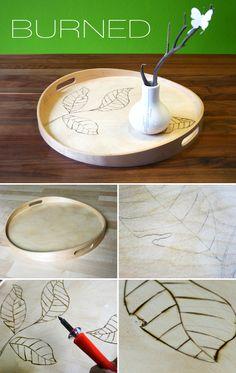 Gingered Things, branding, wood, DIY, tablet, Brandmalerei, Tablett