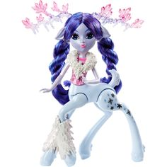 Meadoe is a yeti hybrid with purple and blue hair pulled into long braided pigtails. What makes her unique is her translucent antlers with dripping icicles and pink crystal points. She has blue ici… # long Braids pigtails Disney Monsters, Cool Monsters, All Monster High Dolls, Snow Flake Tattoo, High Horse, Pink Highlights, Dreams And Nightmares, Hair Pulling, Kids Earrings