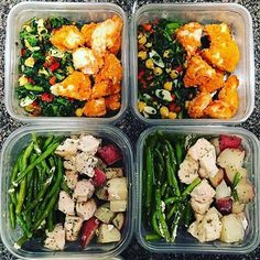 """She calls this """"lazy girl meal prep"""" but it looks to me like @bbamgirl did an AWESOME job! She has homemade crusted chicken with Tuscan kale salad, and garlic ranch roasted chicken, red potatoes & green beans. -  Meal prep doesn't need to be complicated or overly time consuming! Simplify your life with @mealplanmagic. - ALL-IN-ONE TOOL"""