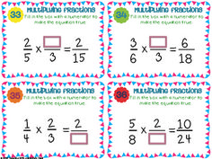Multiplying Fractions Task Cards { Multiply with Visual Mo