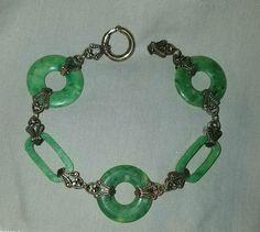 Art Deco vintage 20s flapper carved green jade celluloid circle link bracelet #ArtDeco