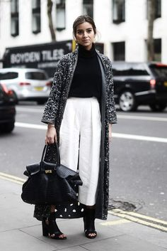 embellished floor length coat with culotte pants