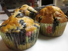 Quick and Easy Blueberry Muffins Can use any flavor combo. The basic base is quick, easy, and only 6 ingredients.  25 min start to finish (maybe less).