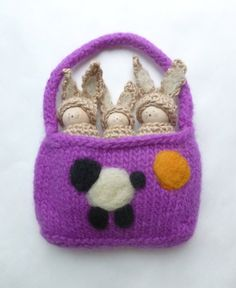 Peg doll bunnies in felted wool pouch Waldorf by greenmountain