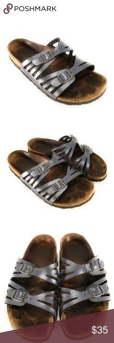 Birkenstock Onyx Grenada Adjustable Sandals SZ 36 Metallic Blue. Gently worn. Birkenstocks do run a bit  big. European 36 is a women'sUS 5-6. Please remember when sizing. Birkenstock Shoes Sandals