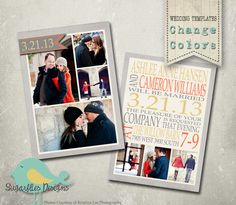 Wedding Announcement Templates and Save the by SugarfliesDesigns, $8.00