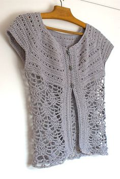 Ravelry: Ariane crochet cap-sleeved pattern by Peggy Grand. Free Pattern.