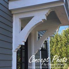 Ekena Millwork Olympic Block Bracket | Wayfair Front Door Overhang, Awning Over Door, Front Door Canopy, Window Canopy, Porch Roof, Side Porch, Front Porch Pergola, Small Front Porches, Side Door