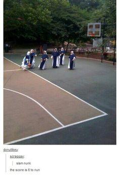Nuns + basketball = instant puns
