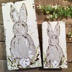 New Bunny Art! Originals on wood panels. And, YALL, I used a bumpy texture their little bushy tails that I LOVE! Bunny Painting, Spring Painting, Diy Painting, Painting On Wood, Easter Art, Easter Crafts, Easter Bunny, Easter Projects, Craft Projects