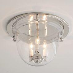 """Flush Ceiling Bell Lantern polished_nickel 9.5""""Hx13.75""""W $270"""