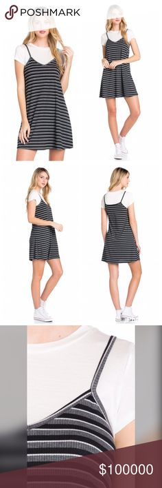 Arrived ribbed stripe tee shirt tank dress/tunic! White tee shirt top with charcoal back and white stripes- ribbed swing tunic dress Dresses