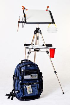 "$155 package, easel, shelf, backpack,pallette/cup & tripod.  12.25"" x 15.75"" easel"