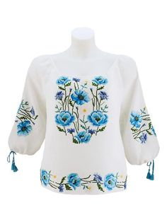 Female linen embroidery fully covered with blue poppies