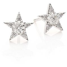 HEARTS ON FIRE Illa Diamond & 18K White Gold Cluster Earrings (63 090 ZAR) ❤ liked on Polyvore featuring jewelry, earrings, apparel & accessories, white gold, heart shaped earrings, diamond heart earrings, diamond star earrings, heart jewelry and heart earrings
