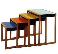 Tables: Josef Alberts, Bauhause Europe until 1933. Then forced out bij Nazi's and emigrate to: USA - Black Mountain