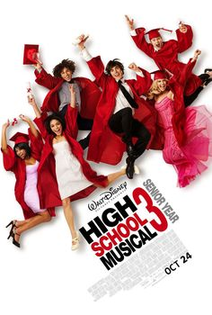 High School Musical Senior Year stars Zac Efron and Vanessa Hudgens, Ashley Tisdale and Lucas Grabeel. Disney Channel Movies, Disney Channel Original, Disney Movies, Girly Movies, Teen Movies, Disney Music, Family Movies, Ashley Tisdale, Zac Efron
