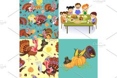 Harvest set, organic foods like fruit and vegetables, happy thanksgiving dinner background, vector illustration harvesting with pumpkin and stack of wheat ears, cranberry berries, bunches of grapes. Natural
