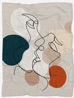 Line Art Face Blanket Marble Comforter, Comforter Sets, Elephant Bedding, Geometric Bedding, Polar Fleece Blankets, Face Art, Vibrant Colors, Pillow Covers, Kids Rugs