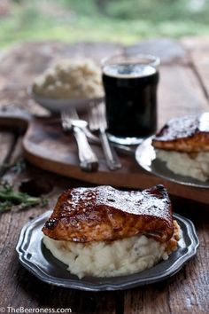 Molasses Stout Glazed Salmon with Herb IPA Mashed Potatoes  #IPADay
