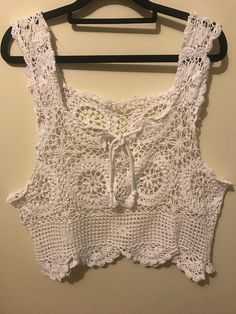 Upcycled table linen into this bohemian crochet crop.