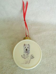 Westie  Dog  Round Drum Shape Christmas Tree Ornament fired Decal