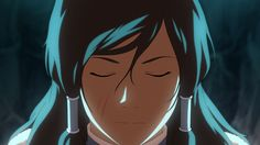 Korra.  Screenshot of the Book 2 Finale. I wonder if those are scars? I'm not gonna lie, that would be awesome. Like Lin! And her hair looks really great down.